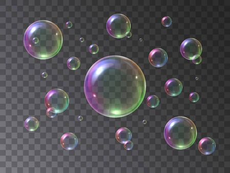 Soap bubbles foamy realistic with rainbow colors in an isolated transparent background. Vector illustration set colorful foam soap bubbles. Water air sphere. 矢量图像