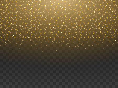 Polvo de oro, polvo brillante aislado sobre fondo transparente. Polvo de polvo de hadas mágico amarillo dorado brillante brillante cayendo volando en luz naranja brillante. Fondo festivo de la ilustración del vector.