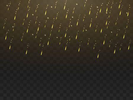 Golden glowing rain