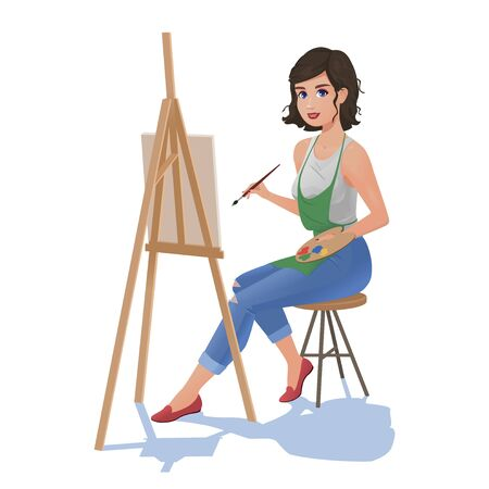 Girl with easel paints and brush Çizim
