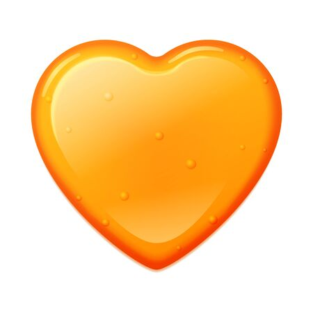 Honey heart shape isolated on a white background. Vector illustration realistic caramel orange honey heart with bubbles.