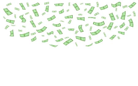 Money rain falling isolated on a white background. Green falling banknote cash money rain. Vector illustration of cartoon flat flying dollar paper banknotes.