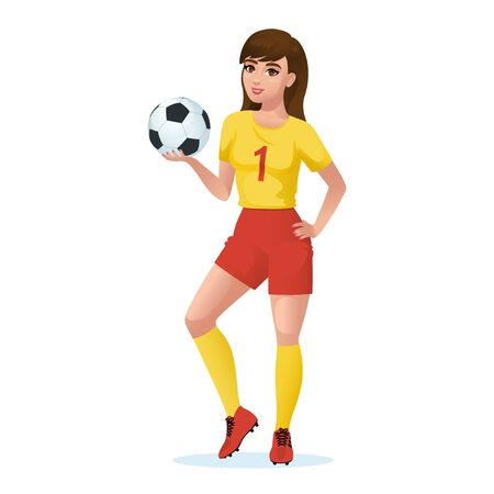 Girl football player in sports uniform