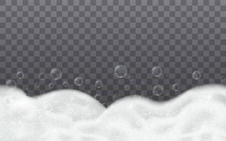 Soap foam with bath shampoo bubbles