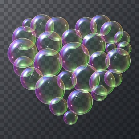 Soap bubbles in the shape of a heart flying in the air. Vector illustration set of sparkling soap bubbles resembling a heart isolated on a transparent background. Çizim