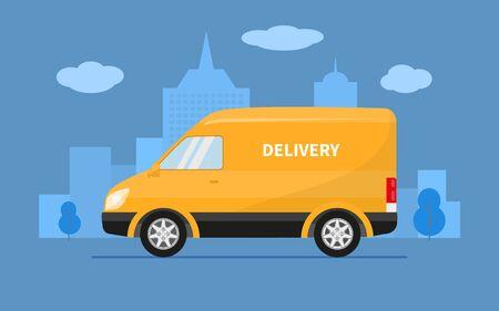 Il furgone del camion di consegna guida sullo sfondo della città. Illustrazione vettoriale di camion di consegna veloce giallo, trasporto di merci di spedizione. Servizio di concetto auto postale veloce, minivan di posta.