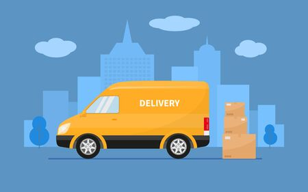 Delivery truck with cardboard boxes stands against on the background city. Vector illustration yellow fast delivery truck van, goods shipping transport. Concept service fast post car, mail minivan.