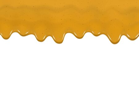 Dripping curry sauce isolated on a white background. Vector illustration realistic yellow flowing dripping curry sauce. Delicious ingredient food spicy spice. Mustard texture for design. Çizim