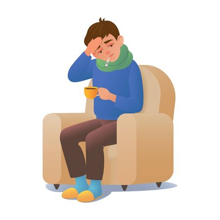Sick man with a cold disease sitting in a chair with a thermometer. Vector illustration sick man with a cold flu illness isolated on a white background. Boy feeling ill fever.