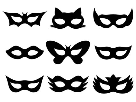 Festive black masks collection isolated on white background. Vector illustration set of halloween masquerade holiday festive black masks.