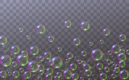 Soap bubbles located below isolated on a transparent background. Flying falling soap bubbles with rainbow reflection. Texture elements for design, laundry concept, dry cleaning. Çizim