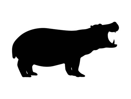 Hippo silhouette. Vector illustration of a dangerous growling hippo silhouette isolated on a white background. Animal behemoth icon, side view profile.