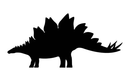 Stegosaurus silhouette. Vector illustration black silhouette of a stegosaurus dinosaur isolated on a white background. Dinosaur icon, side view profile.