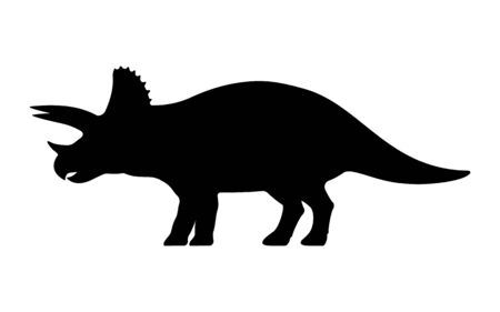 Triceratops silhouette. Vector illustration black silhouette of a triceratops dinosaur isolated on a white background. Dinosaur icon, side view profile.