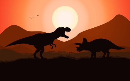 Vector dinosaur battle silhouette 矢量图像