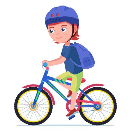Boy riding a bike. Vector illustration character cartoon little boy riding a bike in a helmet and a backpack. Child in a helmet drives a bicycle. Kid safe cycling. 矢量图像