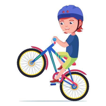 Boy riding a bike. Vector illustration little kid with helmet doing a wheelie on a bicycle isolated on white background. Boy riding on a bicycle on the rear wheel. Child performs a trick on a bike. 矢量图像