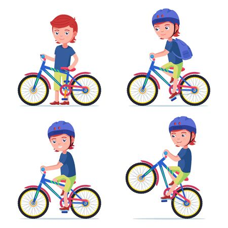 Boy riding a bike. Kid rides a bicycle 矢量图像