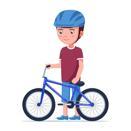 Boy stands with a bmx bike. Vector illustration cartoon kid in a helmet standing next to a small children bicycle. Smiling boy holds a blue sports BMX bike isolated on white.