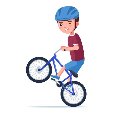 Boy rides a bmx bike on the rear wheel. Vector illustration cartoon character little kid with helmet doing a wheelie on a bicycle isolated on white. Boy rides a bmx bike and performs a stunt.