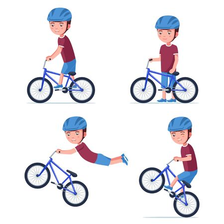 Vector boy riding a bmx bike Çizim