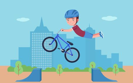 Boy performs a stunt on a bmx bike in a park. Vector illustration cartoon character boy bmx bike rider tricking in the park. Child in a helmet is engaged in extreme sports on a bicycle. Çizim