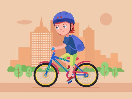 Boy rides a bike in the park. Kid in a helmet with a backpack drives a bicycle along the road in the park. Boy rides a bike in the summer. Child cycling outdoors in helmet with a backpack.