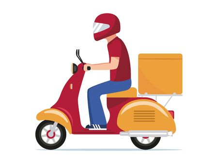 Delivery food on a scooter. Vector illustration cartoon character courier man in helmet carries container box. Service fast delivery food on a scooter. Man courier rides a red motorcycle.