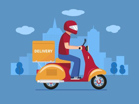 Vector food delivery man on a scooter