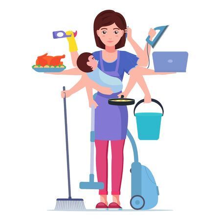 Busy mom. Mother doing housework