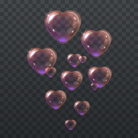 Soap pink bubbles in the shape of a heart 向量圖像