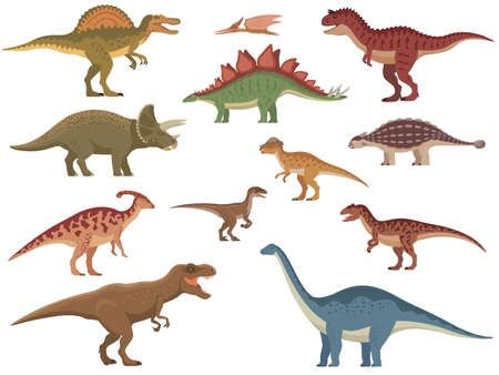Set of colorful dinosaurs 向量圖像