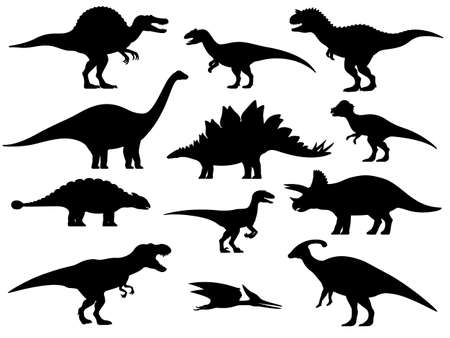 Set silhouettes of dinosaurs