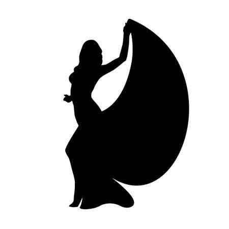 Silhouette belly dancer woman 向量圖像