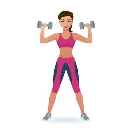 Girl lifts dumbbells