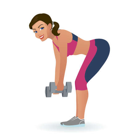Girl lifts dumbbells in an incline