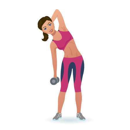 Girl doing side bends with dumbbell