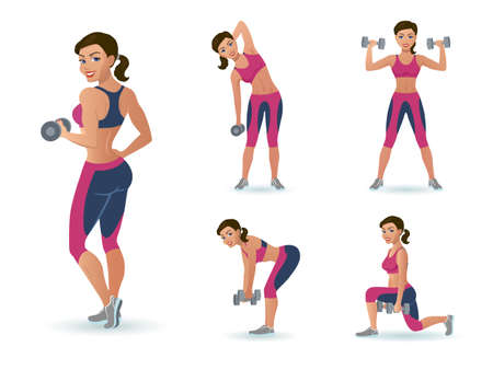 Girl with a dumbbell does the exercise