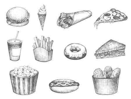 Set fast food hand drawn
