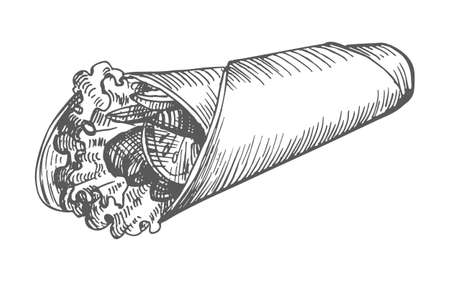 Shawarma hand drawn 向量圖像