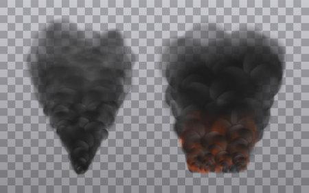 Black smoke rises upward