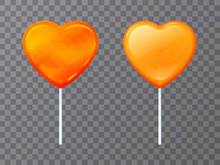 Candy lollipop in the shape of a heart on a stick