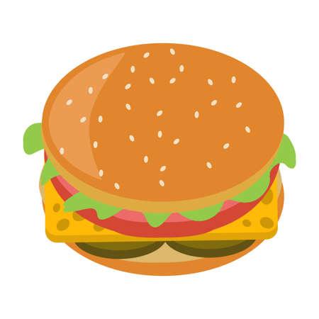 Vector illustration flat icon delicious hamburger