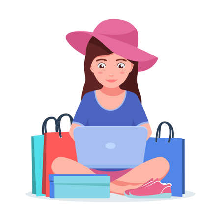 Girl with laptop is shopping online 向量圖像