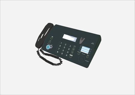 illustration of telephone set with a fax