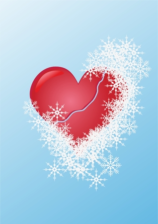 snows: red heart among cold snows