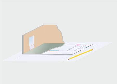 heating engineers: illustration of abstract project of house with the system of heating Illustration