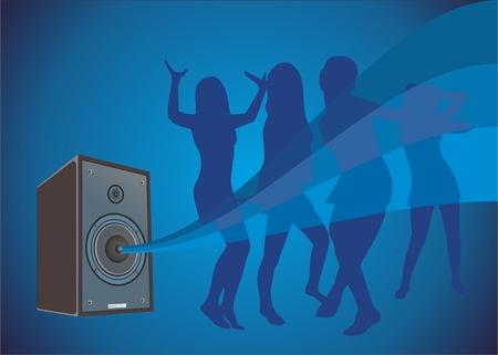 loud speaker: girls dance to music from a loud speaker