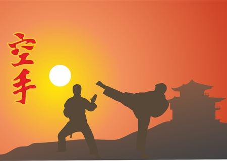 men are engaged in single combats on a background a sun Vektorové ilustrace