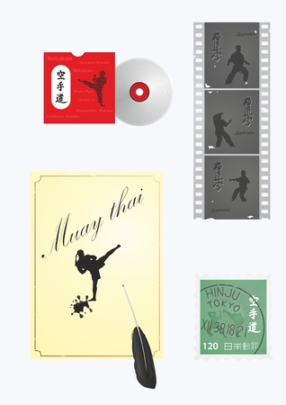 Different objects with the image of martial arts   Illustration